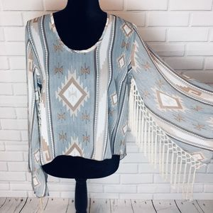 See you Monday boho tassel top Size M